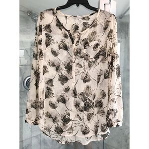 Cream and Black Floral Blouse